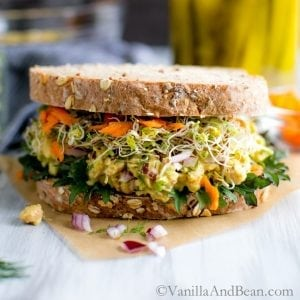 Smashed Chickpea Salad Sandwich from http://vanillaandbean.com/