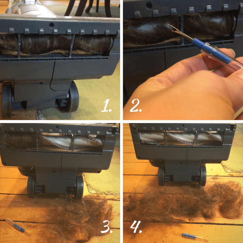 My Top Vacuuming Tip - using a seam ripper to remove hair from vacuum roller brush.