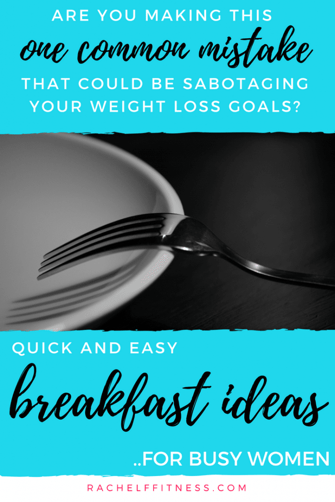 Fork with empty plate. Blue banners with wording - One Common Mistake Sabotaging Your Weight Loss Goals.