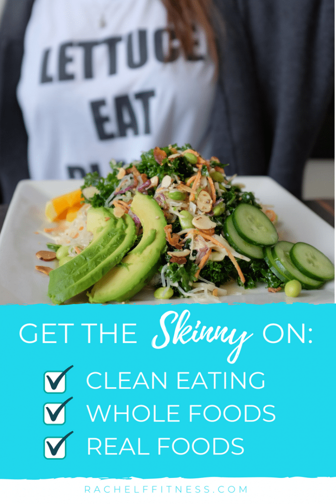 Red Banner with text saying Get the Skinny on Healthy Eating with Clean Eating, Whole Food and Real Food with a woman holding a healthy plate of food