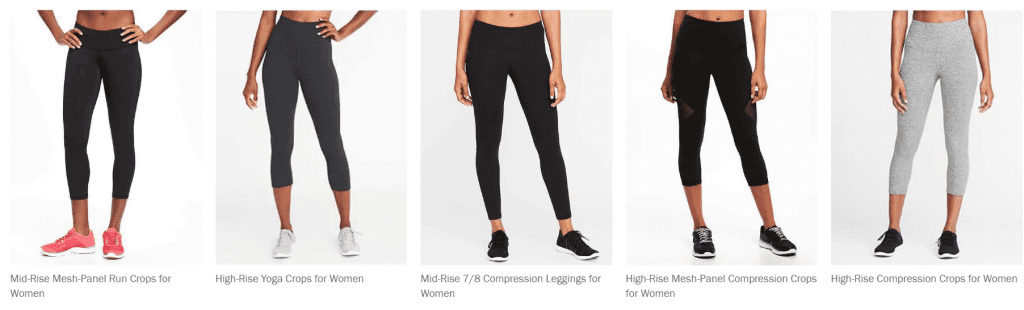 What to wear to the gym - Examples of Compression leggings at Old Navy