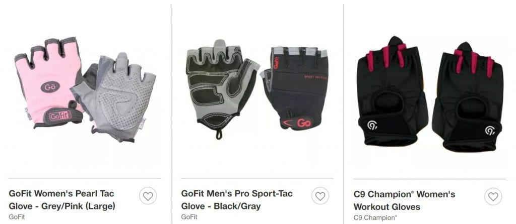 What to wear to the gym - Examples of weightlifting gloves available at Target